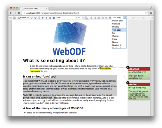 WebODF used for editing